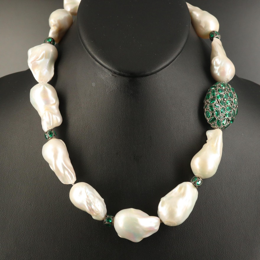 Sterling Pearl and Green Glass Necklace