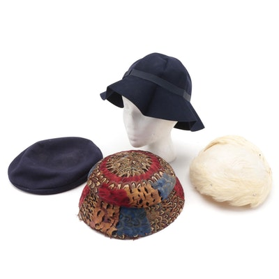 Gwenn Pennington Pheasant Feather Mushroom Hat and Other Felted Hats