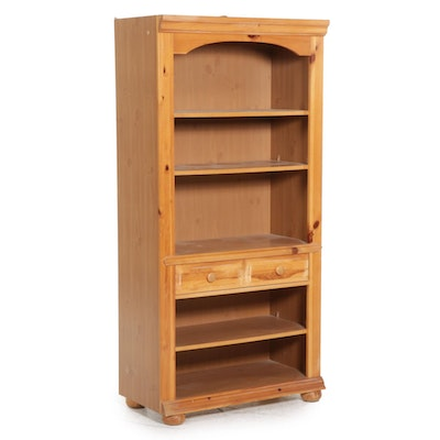 Broyhill Contemporary Pine Lighted Bookcase