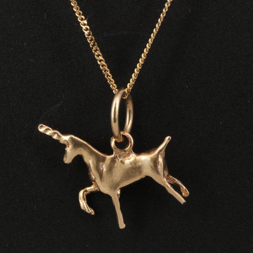 14K Unicorn Pendant Necklace
