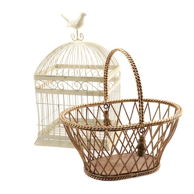Gilded Metal Basket and Painted Bird Cage