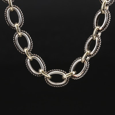 Phillip Gavriel Sterling Cable Chain Necklace with 18K and Rope Accents