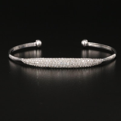 14K 1.15 CTW Pavé Diamond Cuff with Diamond Accented Ends