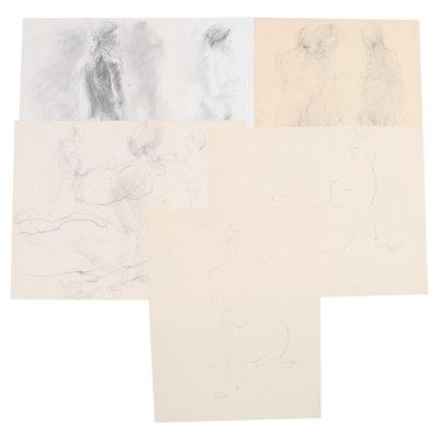 John Tuska Figure Study Graphite Drawings, Late 20th Century