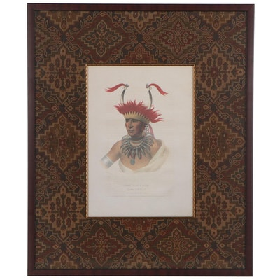 "Lehman & Duval Offset Lithograph after Charles Bird King ""Chon-Man-I-Case"""