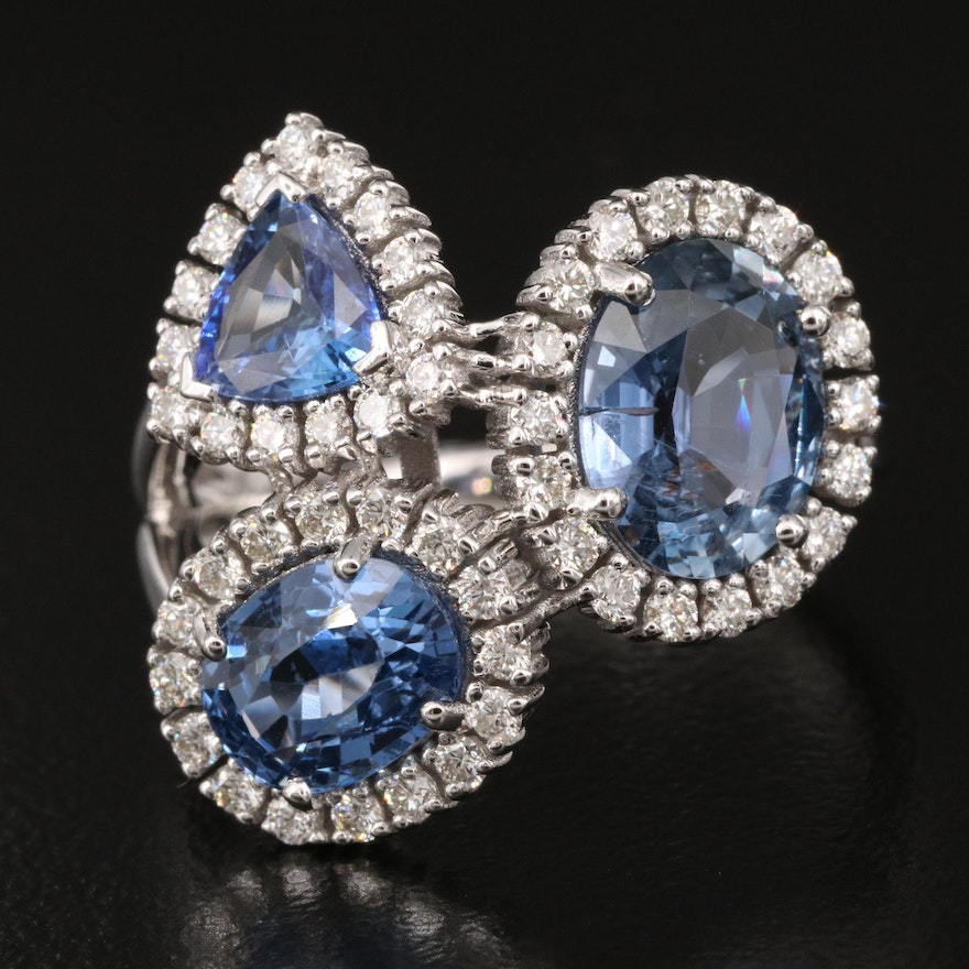 18K 4.08 CTW Sapphire and Diamond Cluster Halo Ring