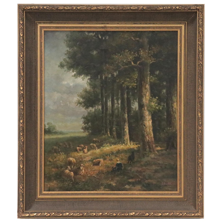 Pastoral Landscape Oil Painting of Shepherd and Sheep