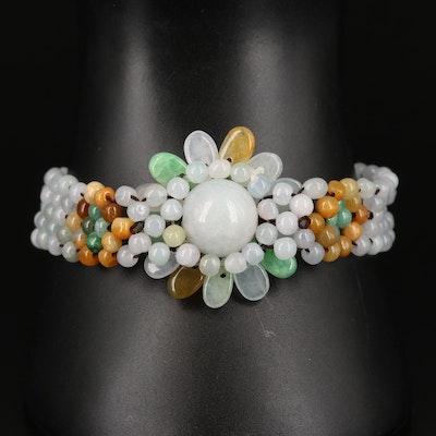 Jadeite Woven Flower Bracelet