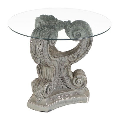 Column Capital Glass Top Center Table, Late 20th Century