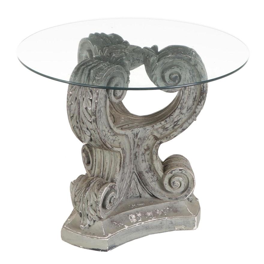 Column Capital Glass Top Center Table, Late 20th Century