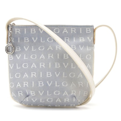 Bvlgari Logo Canvas and Leather Crossbody Bag