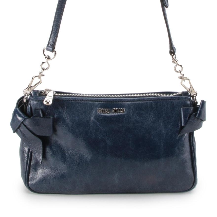 Miu Miu Navy Blue Leather Bow Accented Shoulder Bag