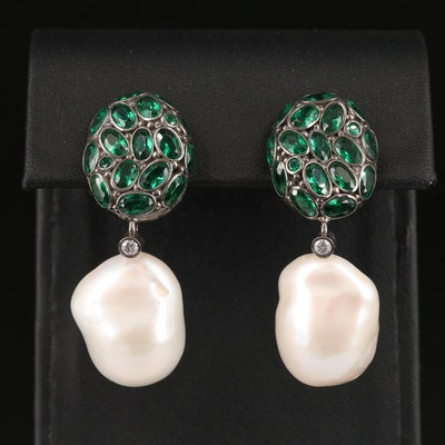 Italian Sterling Pearl, Glass and Cubic Zirconia Earrings