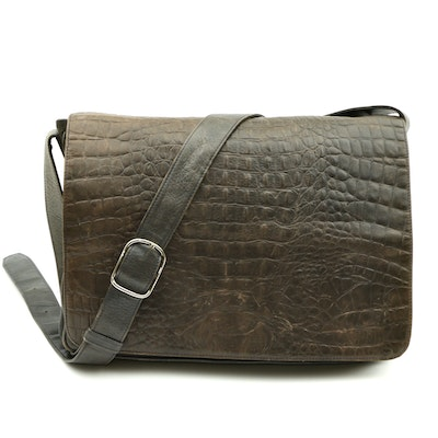 Garrett Croc-Embossed and Grained Leather Laptop Crossbody Bag