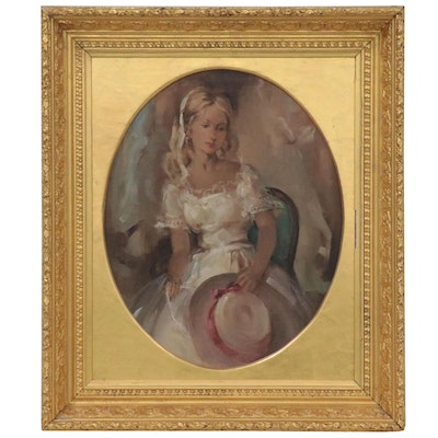 Oval Portrait Oil Painting of Young Woman, Late 20th Century