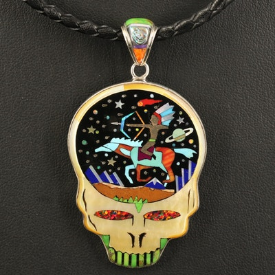 Sterling Inlay Skull Pendant Necklace with Turquoise, Opal and Abalone