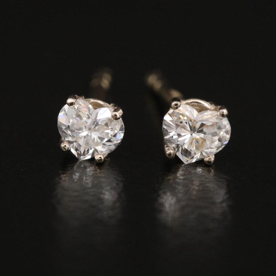 14K 0.28 CTW Diamond Heart Stud Earrings