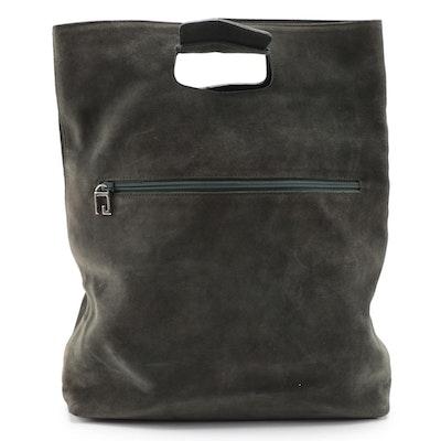 Gucci Dark Green Suede Shopper Bag with G Hardware