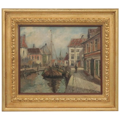 Oil Painting of Canal Scene, Early 20th Century