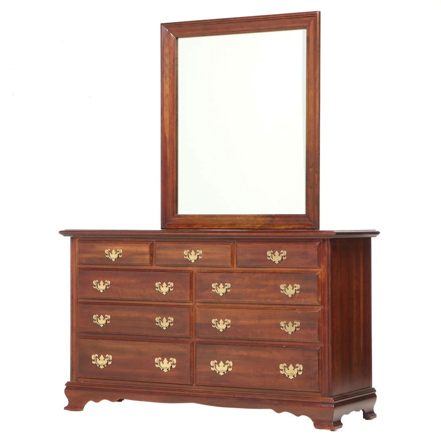 Chippendale Style Cherrywood Nine-Drawer Chest, Late 20th Century