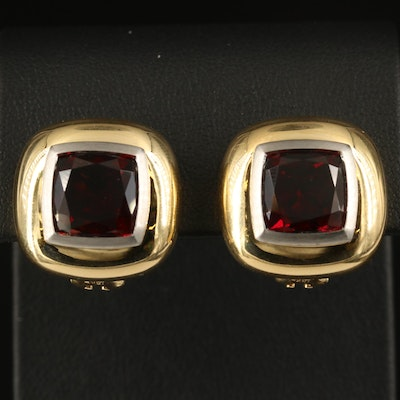 18K Garnet Button Earrings