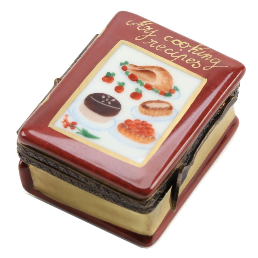 Hand-Painted Recipe Book Porcelain Limoges Box