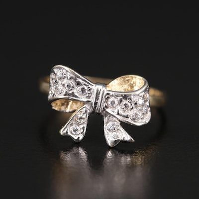 14K Cubic Zirconia Two-Tone Bow Ring