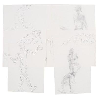 John Tuska Figure Study Graphite Drawings, Mid to Late 20th Century