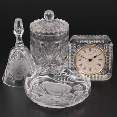 Staiger Crystal Desk Clock and Other Tableware, Late 20th Century