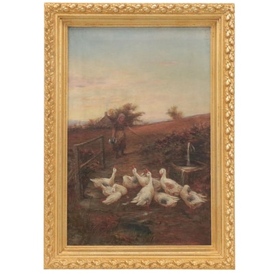 William Henderson Genre Scene Oil Painting of Woman Feeding Geese, Circa 1900