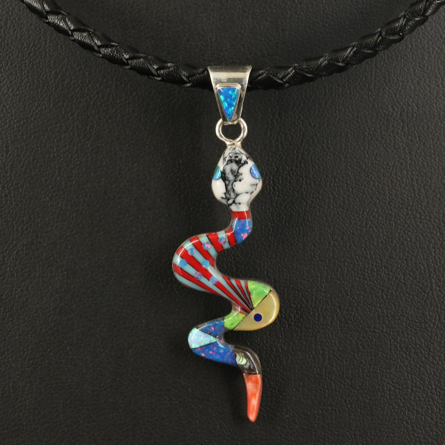 Sterling Inlay Snake Pendant Necklace with Opal and Mother of Pearl
