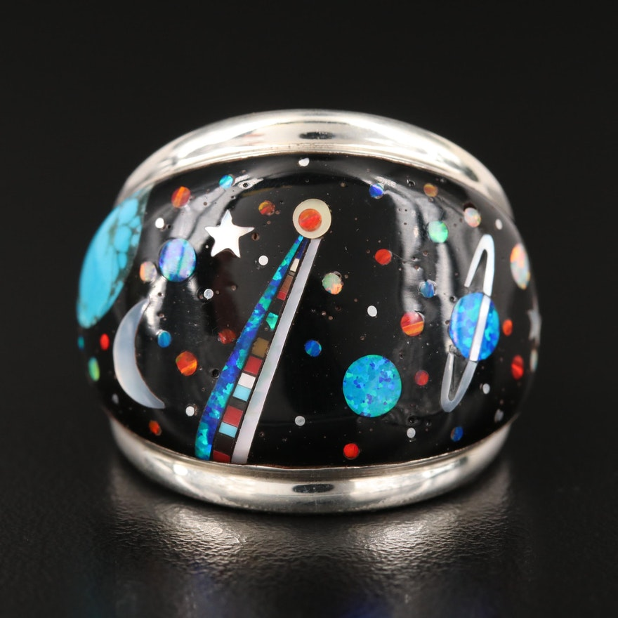 Sterling Celestial Band Including Turquoise, Opal, Mother of Pearl