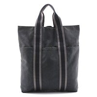 Hermès Fourre Tout Cabas Bag in Black and Grey Canvas