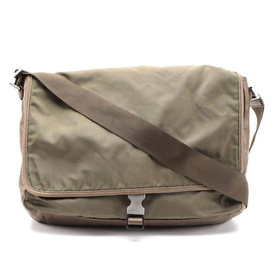 Prada Tessuto Messenger Bag in Olive Green Nylon and Brown Nappa Leather