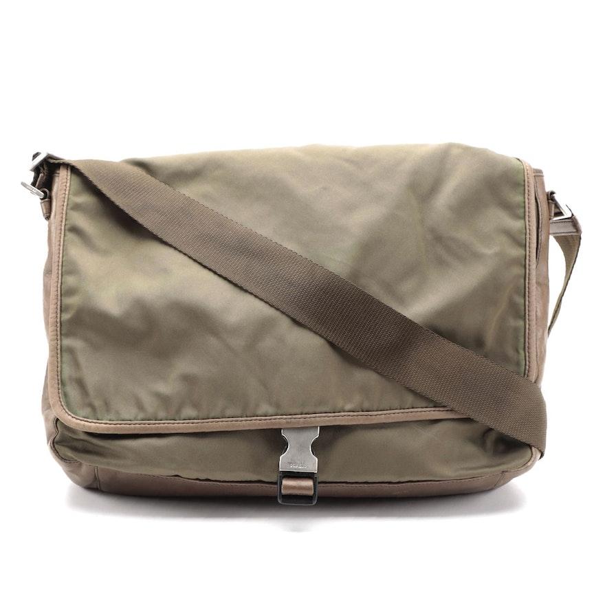Prada Tessuto Messenger Bag in Olive Green Nylon and Brown Nappa Leather