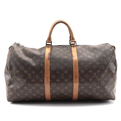 Louis Vuitton Keepall 55 Duffel Bag in Monogram Canvas and Vachetta Leather