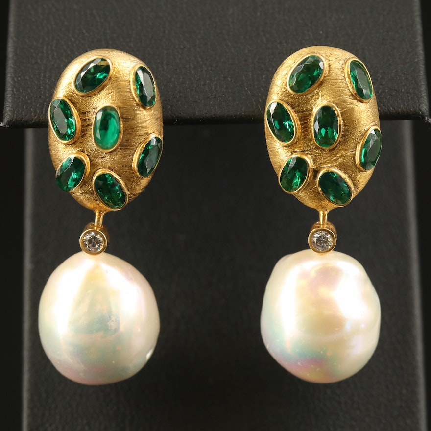 Sterling Textured Earrings with Pearl and Cubic Zirconia Drop