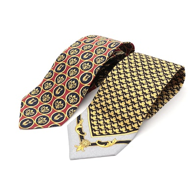 Gianni Versace Silk Logo Printed Neckties