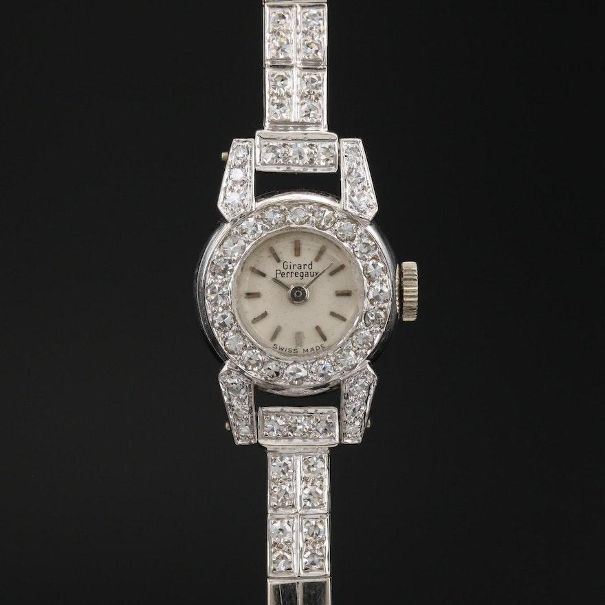 Vintage Girard-Perregaux 18K Gold Diamond Wristwatch with 14K Bracelet
