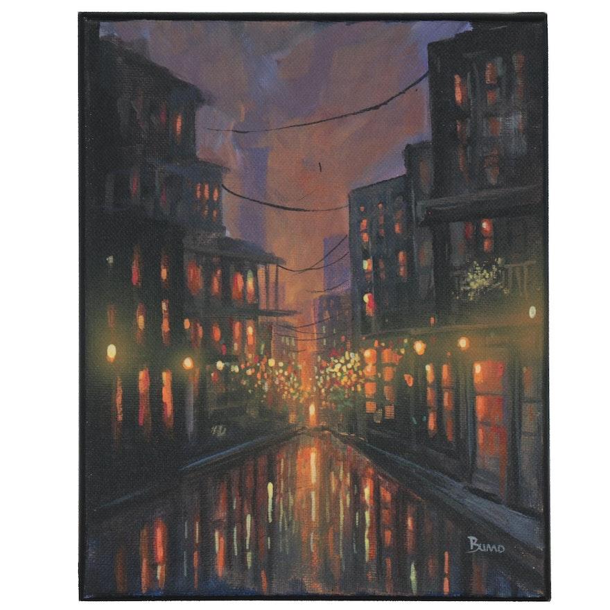 "Douglas ""Bumo"" Johnpeer Cityscape Oil Painting, 2021"