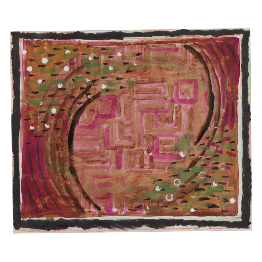 """Philip the Transplant Mixed Media Painting """"Labyrinth,"""" 2014"""