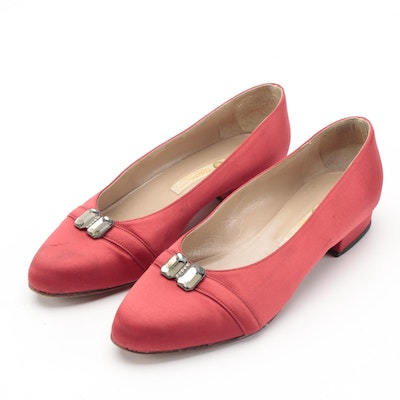 Gucci Flats in Red Satin with Embellishments