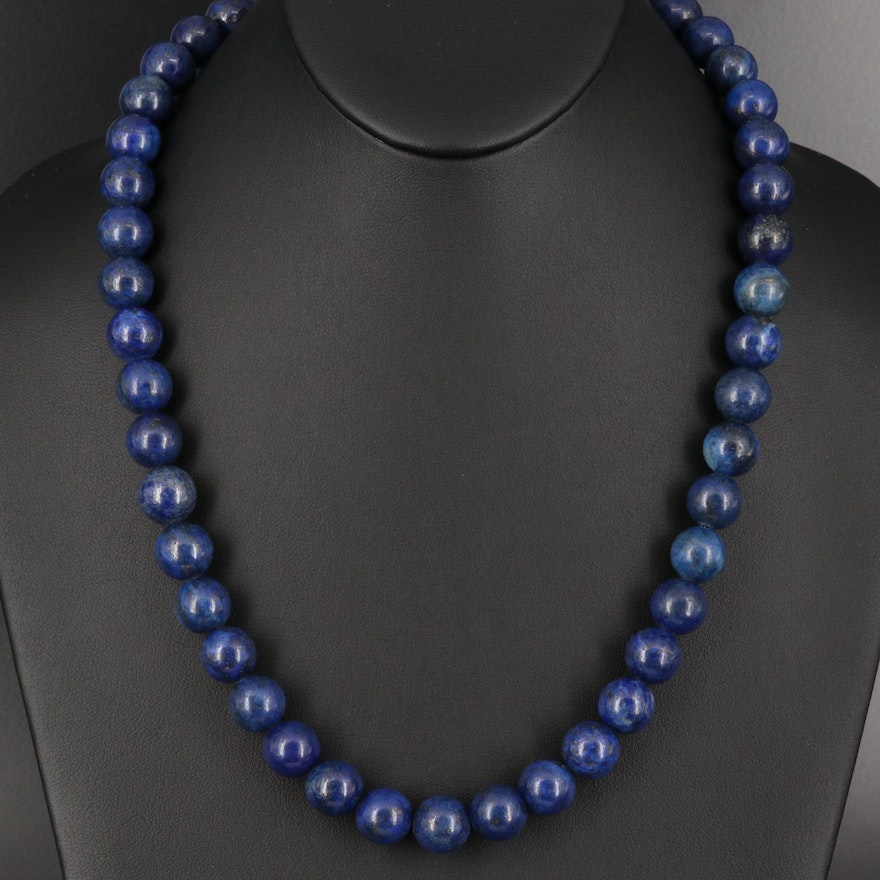 Lapis Lazuli Bead Necklace with Sterling Clasp