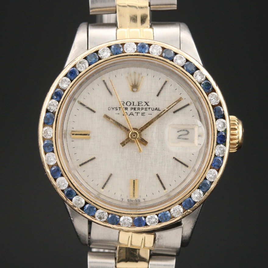 1971 Rolex 14K and Stainless Steel Wristwatch with Diamond and Sapphire Bezel
