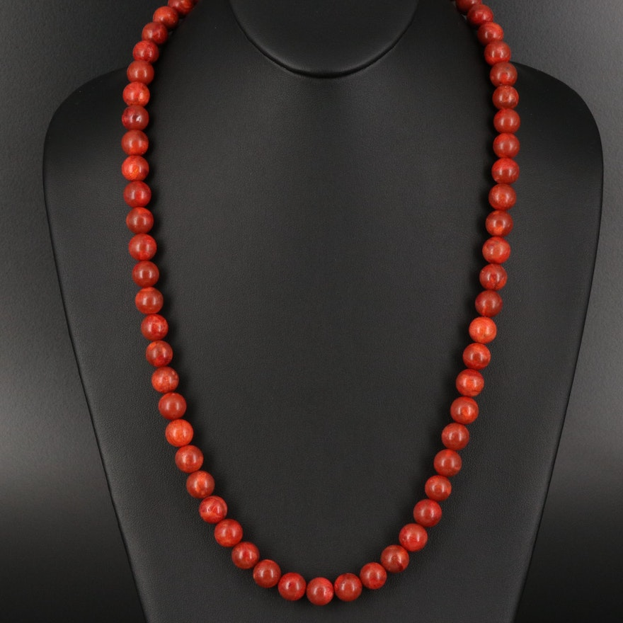 Coral Beaded Necklace with Sterling Clasp