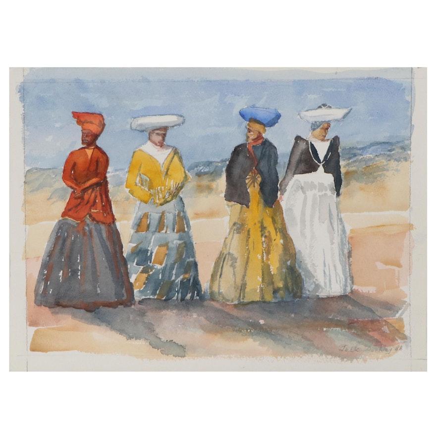 """Jack Dunkley Watercolor Painting """"Heroines,"""" 1988"""