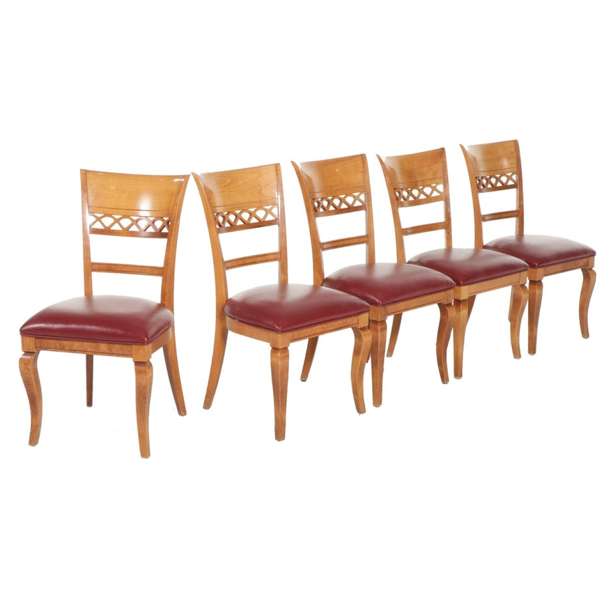 """Five Nichols & Stone """"Mont Blanc"""" Birch and Leather Upholstered Dining Chairs"""