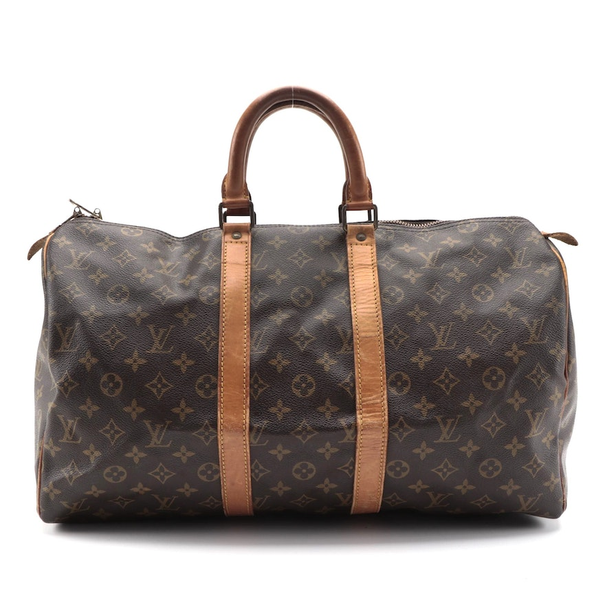 Louis Vuitton Malletier Keepall 45 Travel Bag in Monogram Canvas and Leather