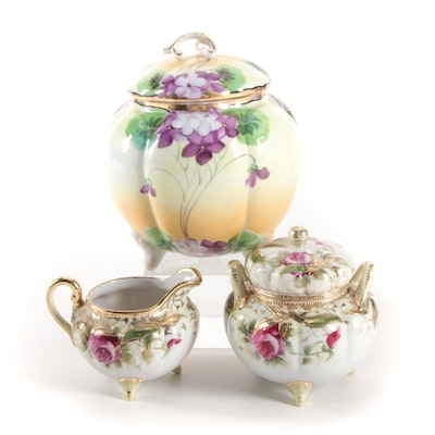 Nippon Hand-Painted Cream and Sugar Set and Other Porcelain Jar