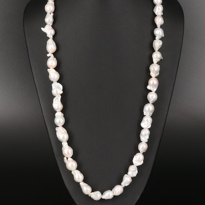 "Baroque Pearl Necklace with ""Baroque"" Sterling Clasp"